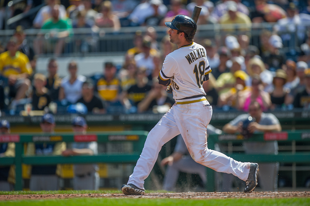 PITTSBURGH, PA - JUNE 08: Neil Walker #18 of the Pittsburgh Pirates bats during the game against the Milwaukee Brewers at PNC Park on June 8, 2014 in Pittsburgh, Pennsylvania. (Photo by Rob Tringali) *** Local Caption *** Neil Walker