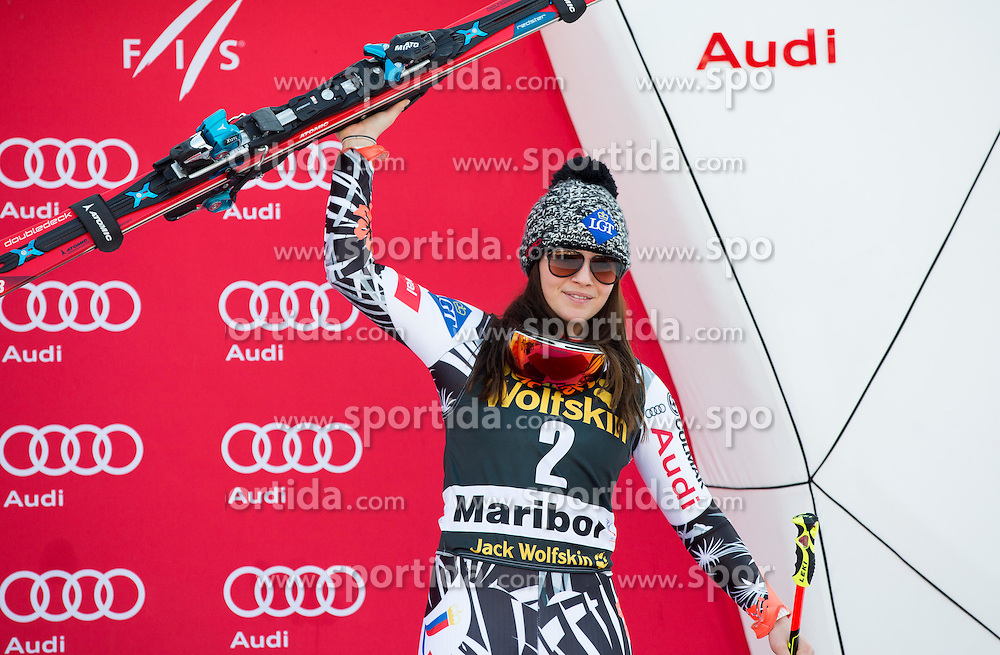 Third placed Tina Weirather (LIE) celebrates at victory ceremony after the 7th Ladies' Giant slalom at 52nd Golden Fox - Maribor of Audi FIS Ski World Cup 2015/16, on January 30, 2016 in Pohorje, Maribor, Slovenia. Photo by Vid Ponikvar / Sportida