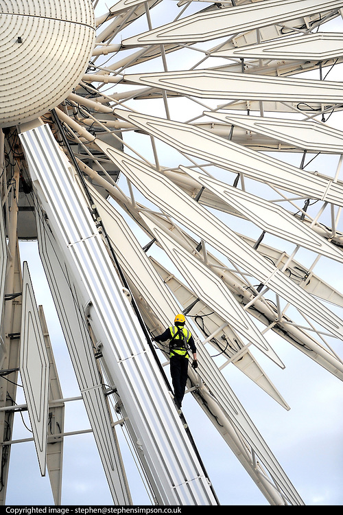 © Licensed to London News Pictures. 27/09/2011. LONDON, UK. An inspection to the Liverpool Wheel is carried out at the conference centre today. The Labour Party Conference in Liverpool today (27/09/11). Photo credit:  Stephen Simpson/LNP