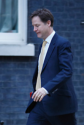 © licensed to London News Pictures. London, UK 05/12/2013. Deputy Prime Minister Nick Clegg attending to a cabinet meeting in Downing Street on Thursday, 5 December 2013 ahead of the autumn statement. Photo credit: Tolga Akmen/LNP