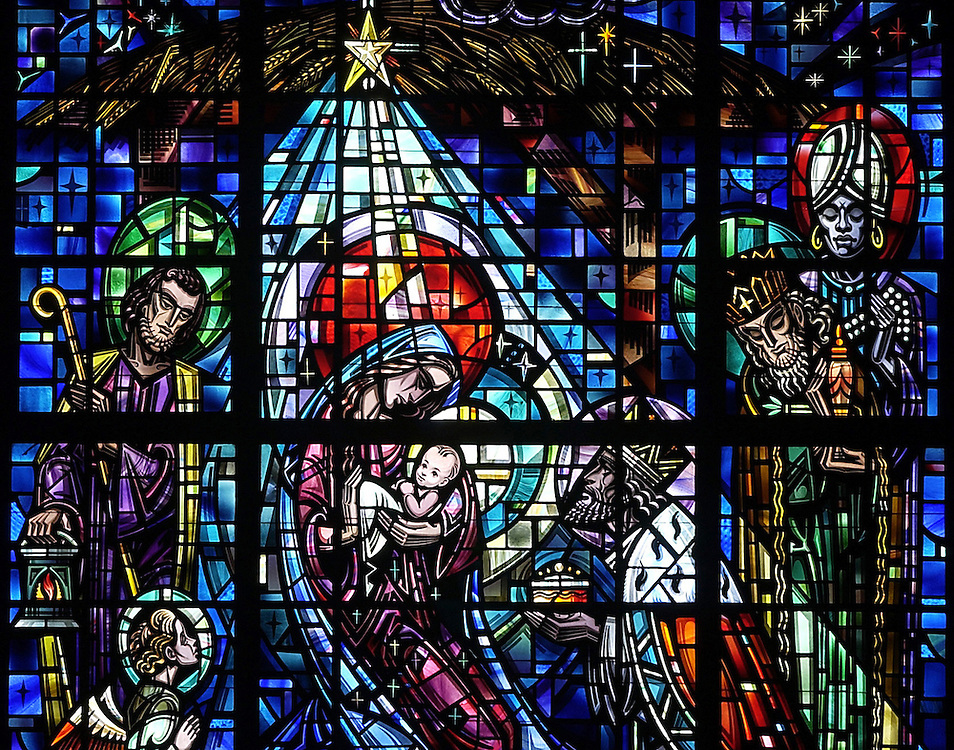 NATIVITY SCENE -- The Nativity scene is depicted in a stained glass window at Nativity of the Lord Church in Cudahy, Wis. (Photo by Sam Lucero)