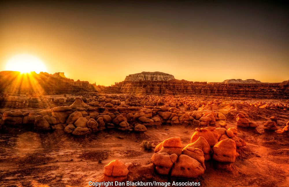 Sunrise Over the Goblins in Goblin Valley Utah