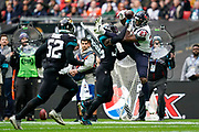 Jacksonville Jaguars Defensive Back Ronnie Harrison (36) blocks Houston Texans Running Back Carlos Hyde (23) from catching a pass during the International Series match between Jacksonville Jaguars and Houston Texans at Wembley Stadium, London, England on 3 November 2019.