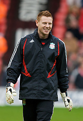 LIVERPOOL, ENGLAND - Saturday, February 23, 2008: Liverpool's goalkeeper David Martin warms up before the Premiership match against Middlesbrough at Anfield. (Photo by David Rawcliffe/Propaganda)