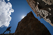 Climbing Irene's Arete in Grand Teton National Park, Wyoming.<br /> Photo by David Stubbs<br /> www.davidstubbs.com