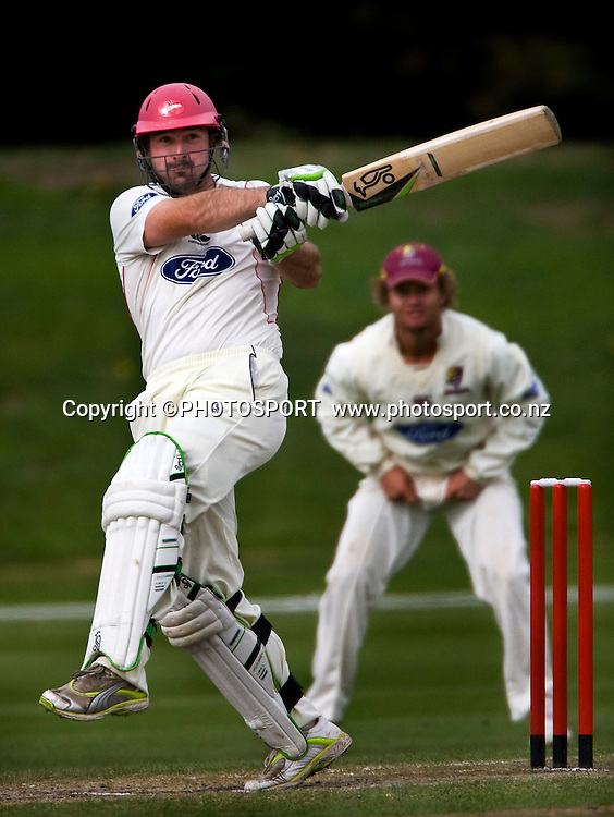 Canterbury batsmen Shanan Stewart during play on the final day. Canterbury Wizards v Northern Knights, Plunket Shield Game held at Mainpower Oval, Rangiora, Thursday 07 April 2011. Photo : Joseph Johnson / photosport.co.nz