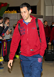 Sergio Busquets of FC Barcelona arrives at Manchester Airport with the squad ahead of the UEFA Champions League tie against Manchester City - Photo mandatory by-line: Matt McNulty/JMP - Mobile: 07966 386802 - 23/02/2015 - SPORT - Football - Manchester - Manchester Airport