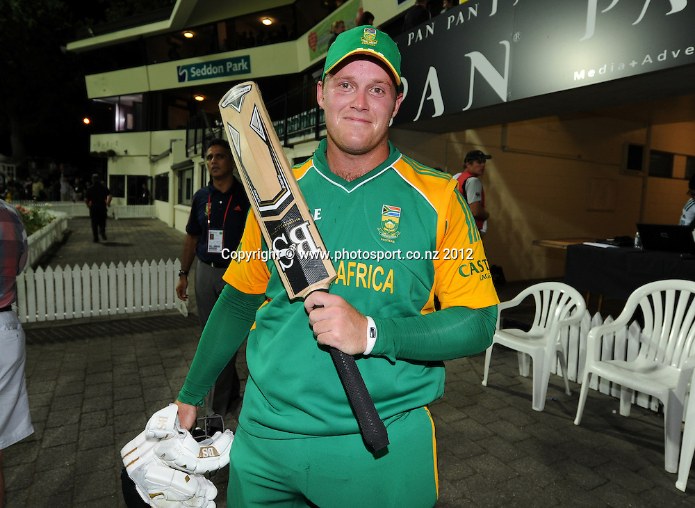 South Africa's Richard Levi poses for a picture after his record breaking century during the 2nd InternationaI Twenty20 cricket match between New Zealand Black Caps and South Africa at Seddon Park, Hamilton, New Zealand on Sunday 19 February 2012. Photo: Andrew Cornaga/Photosport.co.nz