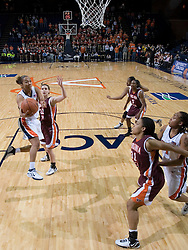Sharnee Zoll gets a shot off against VT.  The Virginia Tech Hokies overcame a 14 point Virginia lead to beat the Cavaliers 60-58 on their home court at the John Paul Jones Arena in Charlottesville, VA.