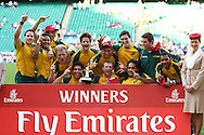 Twickenham, London - Sunday 23rd May 2010: The Australian team celebrate after beating South Africa 19-14 in the final of the Emirates London Sevens rugby tournament at Twickenham Stadium, London, UK. (Pic by Andrew Tobin/Focus Images)