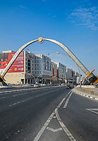 DOHA, QATAR - CIRCA DECEMBER 2013: Welcoming arch in Doha over Banks Street