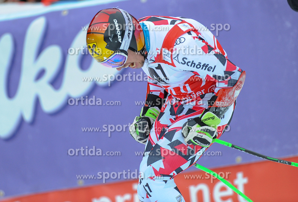 28.02.2016, Hannes Trinkl Rennstrecke, Hinterstoder, AUT, FIS Weltcup Ski Alpin, Hinterstoder, Riesenslalom, Herren, 2. Lauf, im Bild Marcel Hirscher (AUT) 2.Platz // Marcel Hirscher of Austria (second place) reacts after his 2nd run of men's Giant Slalom of Hinterstoder FIS Ski Alpine World Cup at the Hannes Trinkl Rennstrecke in Hinterstoder, Austria on 2016/02/28. EXPA Pictures © 2016, PhotoCredit: EXPA/ Erich Spiess