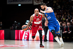 December 29, 2017 - Assago, Milan, Italy - Jordan Theodore (#25 AX Armani Exchange Milan) drives to the basket  during a game of Turkish Airlines EuroLeague basketball between  AX Armani Exchange Milan vs Crvena Zvzda Mts Belgrade at Mediolanum Forum in Milan, Italy, on 29 december 2017. (Credit Image: © Roberto Finizio/NurPhoto via ZUMA Press)