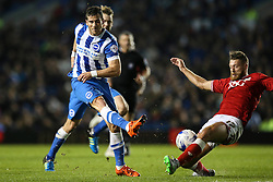 Bristol City's Nathan Baker blocks a shot from Brighton's Tomer Hemed - Mandatory byline: Jason Brown/JMP - 07966 386802 - 20/10/2015 - FOOTBALL - American Express Community Stadium - Brighton,  England - Brighton & Hove Albion v Bristol City - Championship
