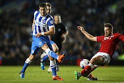Bristol City's Nathan Baker blocks a shot from Brighton's Tomer Hemed - Mandatory byline: Jason Brown/JMP - 07966 386802 - 20/10/2015 - FOOTBALL - American Express Community Stadium - Brighton,  England - Brighton & Hove Albion v Bristol City - Championship
