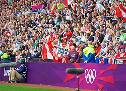 COVENTRY, ENGLAND - Friday, August 3, 2012: Canada supporters during the Women's Football Quarter-Final match between Great Britain and Canada, on Day 7 of the London 2012 Olympic Games at the Rioch Arena. Canada won 2-0. (Photo by David Rawcliffe/Propaganda)