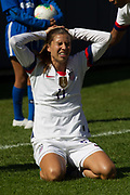 USA forward Tobin Heath (17) shows frustration against South Korea during an international friendly in Chicago, Sunday, Oct. 6, 2019, in Chicago. USWNT tied the Korea Republic 1-1. (Max Siker/Image of Sport)