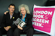 Brian May, with co author Denis Pellerin, talks about  images from The London Stereoscopic Company which produces  books in full 3-D. The images were shown on screen and viewed with special glasses. London Book Fair, Olympia, London, UK, 14 Apr 2015.