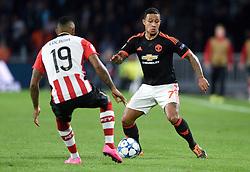 15-09-2015 NED: UEFA CL PSV - Manchester United, Eindhoven<br /> PSV kende een droomstart in de Champions League. De Eindhovenaren waren in eigen huis te sterk voor de miljoenenploeg Manchester United: 2-1 / Memphis Depay #7