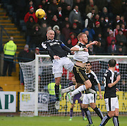 Dundee&rsquo;s James McPake beats Aberdeen&rsquo;s Adam Rooney in the air  - Dundee v Aberdeen, Ladbrokes Scottish Premiership at Dens Park<br /> <br />  - &copy; David Young - www.davidyoungphoto.co.uk - email: davidyoungphoto@gmail.com