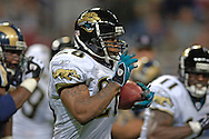 Jacksonville running back Fred Taylor (C) rushes up field in the thrid quarter against St. Louis at the Edward Jones Dome in St. Louis, Missouri, October 30, 2005.  The Rams beat the Jaguars 24-21.