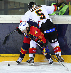 17.12.2011, Albert Schultz Halle, Wien, AUT, European Trophy, Jokerit vs Lulea Hockey, im Bild Henri Heino, (Jokerit, #55) und Lukas Kilstroem, (Lulea Hockey, #5) , EXPA Pictures © 2011, PhotoCredit: EXPA/ T. Haumer