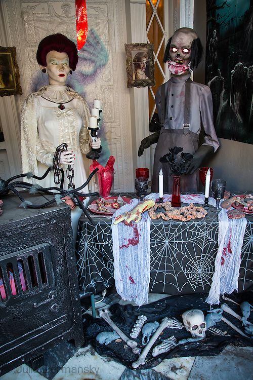 Halloween display in New Orleans French Quarter,