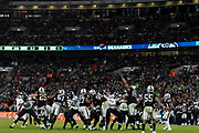 Seattle Seahawks kick an extra point during the International Series match between Oakland Raiders and Seattle Seahawks at Wembley Stadium, London, England on 14 October 2018.