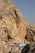 Sainte-Thecle Greek Orthodox convent, Ma'alula, Syria. Ma'alula is a Christian village carved into the rock, where Aramaic is still spoken.