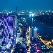 View over Saigon at night