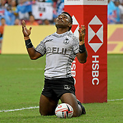 Fiji's Jerry Tuwai shows heavenly reverence after scoring a 2nd half try in their 28-22 victory over Australia to win the 2018 HSBC Singapore 7's at the SIngapore National Stadium, Singapore, Singapore.  Photo by Barry Markowitz, 4/29/18