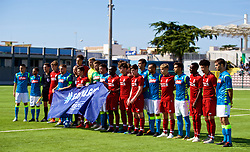 NAPLES, ITALY - Wednesday, October 3, 2018: Liverpool and Napoli players with a UEFA Respect flag before the UEFA Youth League Group C match between S.S.C. Napoli and Liverpool FC at Stadio Comunale di Frattamaggiore. (Pic by David Rawcliffe/Propaganda)