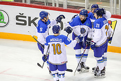 Players of Kazakhstan celebrate during Ice Hockey match between National Teams of Kazakhstan and Slovenia in Round #4 of 2018 IIHF Ice Hockey World Championship Division I Group A, on April 27, 2018 in Arena Laszla Pappa, Budapest, Hungary. Photo by David Balogh / Sportida