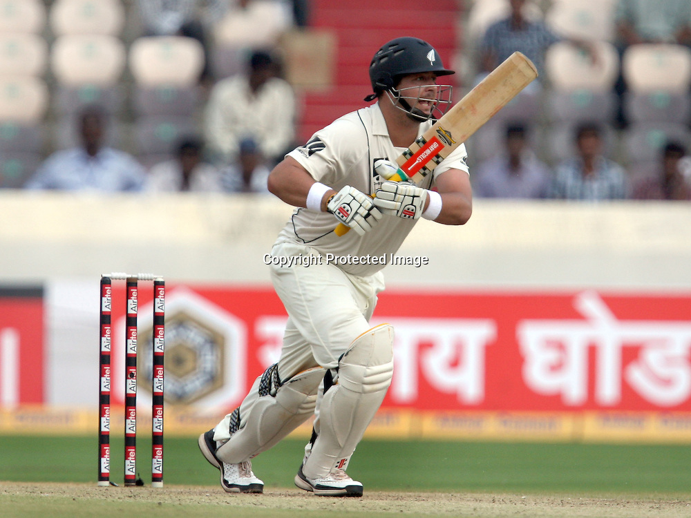 New Zealand Batsman Jesse Ryder Play A Shot Against India During The 2nd Test Match India vs New Zealand Played at Rajiv Gandhi International Stadium, Uppal, Hyderabad 13, November 2010 (5-day match)