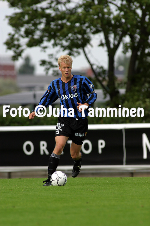 02.08.2003, Veritas Stadion, Turku, Finland..Veikkausliiga 2003 / Finnish League 2003.FC Inter Turku v Kuopion Palloseura.Mathias Lindstr?m - Inter.©Juha Tamminen