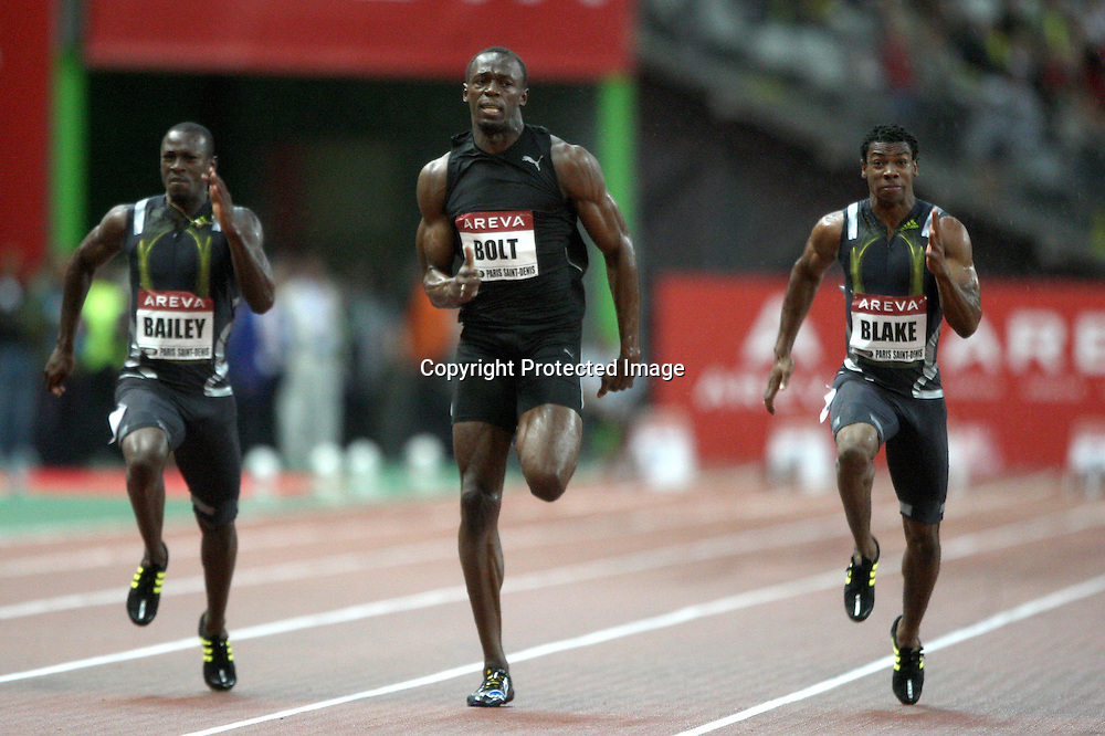 Daniel Bailey, Usain Bolt and Yohan Blake in action during the 100 metre event, at the IAAF Golden League Track and Field meeting on 17 July 2009 in Paris, France. Photo: Panoramic/PHOTOSPORT *** Local Caption ***