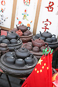 China, Beijing, Busy pedestrian street market Chinese Teapots