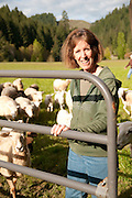 Scottie Jones, proprietor of Leaping Lamb Farm in Alsea, Oregon.