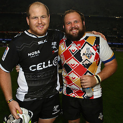 DURBAN, SOUTH AFRICA - MAY 21: Lourens Adriaanse of the Cell C Sharks with Jacobie Adriaanse of the Southern Kings during the Super Rugby match between Cell C Sharks and Southern Kings at Growthpoint Kings Park on May 21, 2016 in Durban, South Africa. (Photo by Steve Haag/Gallo Images)