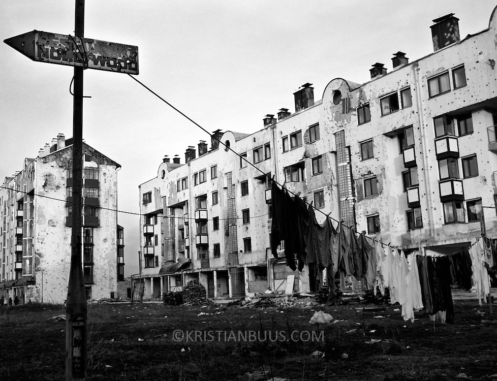 Sarajevo Nov 1996.In the suburbs.  A year on the Dayton Peace Agreement and 100s of thousands are still living as displaced people in bomb scarred houses.
