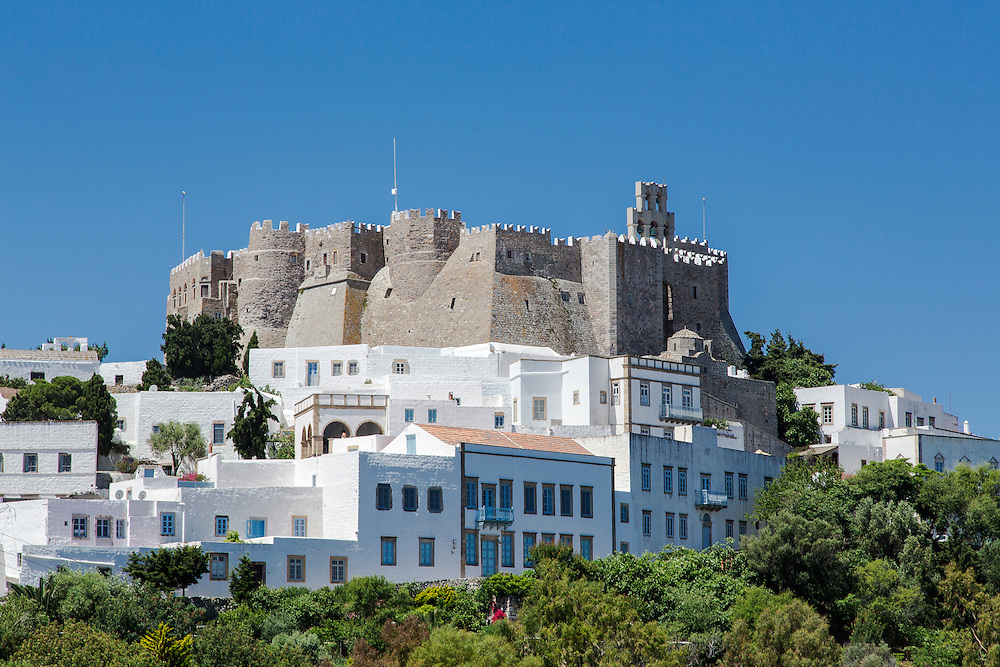 The Chora and Saint John the Evangelist monastery at Patmos island in Greece