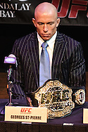 LAS VEGAS, NEVADA, JULY 9, 2009: UFC welterweight champion Georges St. Pierre is pictured during the pre-fight press conference for UFC 100 inside the House of Blues in Las Vegas, Nevada