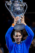 Rafael Nadal of Spain with his year end ATP World Number One trophy during the Nitto ATP Finals at the O2 Arena, London, United Kingdom on 15 November 2019.