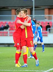 Wes Burns (Bristol City) of Wales celebrates with Robert Ogleby (Wrexham) of Wales - Photo mandatory by-line: Joe Meredith/JMP - Tel: Mobile: 07966 386802 06/02/2013 - SPORT - FOOTBALL - Stebonheath Park - Llanelli -  Wales U21s V Iceland U21s - U21s International friendly