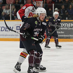 DRYDEN, ON - MAY 1: Josh Supryka #18 of the Wellington Dukes and Woody Galbraith #18 of the Dryden GM Ice Dogs follow the play in the second period during Game Two of the Central Canadian Junior Championship during the 2018 Dudley Hewitt Cup on May 1, 2018 at the Dryden Memorial Arena in Dryden, Ontario, Canada. (Photo by Tim Bates/DHC via OJHL Images)