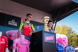 The giro trophy and riders of Wilier - Southeast (ITA) on the podium at the start, stage 2 from Arnhem to Nijmegen running 190 km of the 99th Giro d'Italia (UCI WorldTour), The Netherlands, 7 May 2016. Photo by Pim Nijland / PelotonPhotos.com | All photos usage must carry mandatory copyright credit (Peloton Photos | Pim Nijland)