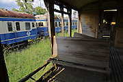 Strasshof, Austria.<br /> Triebwagentage (railcar days) at Das Heizhaus - Eisenbahnmuseum Strasshof, Lower Austria's newly designated competence center for railway museum activities.<br /> Diesel railcars ÖBB Type 5046 (built 1954-1961, running until 1997), seen from aboard a decaying wooden passenger carriage.