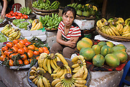 Hanoi, Vietnam, October 2008. A woman sells fruit and vagetables from her stall. Several streetmarkets serve the population of Hanoi.  Vietnam is an upcoming player in the travel industry. Photo by Frits Meyst/Adventure4ever.com