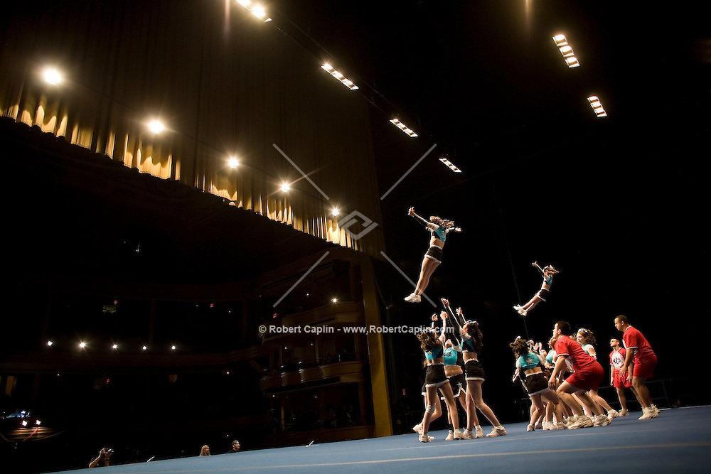 The Central Valley Panthers of Plainville, CT compete in the NCA/NDA U.S. Championship held at the Hammerstein Ballroom Sat. March 10, 2007. Rising popularity in the sport of cheerleading has brought a significant increase in cheerleading related accidents and injuries.