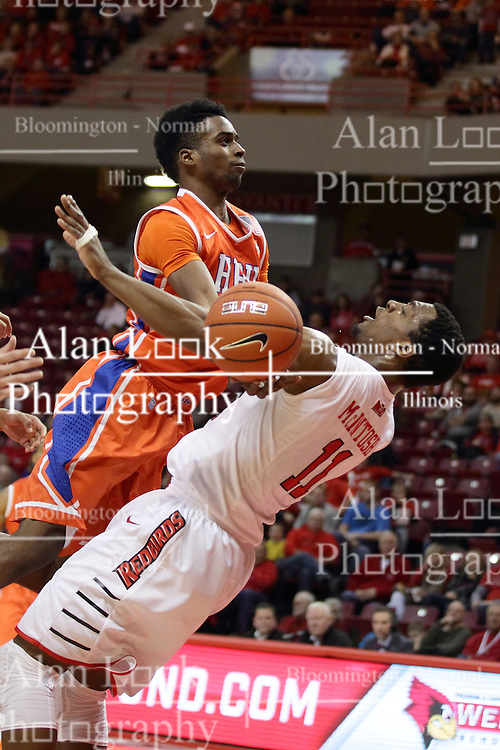 21 November 2015: Trey Patterson(10) crashes into MiKyle McIntosh(11) attempting to get to the hoop. Illinois State Redbirds host the Houston Baptist Huskies at Redbird Arena in Normal Illinois (Photo by Alan Look)